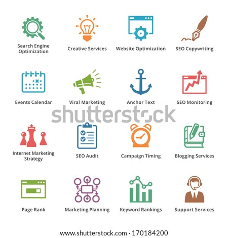 SEO & Internet Marketing Icons - Set 5 | Colored Series - stock vector