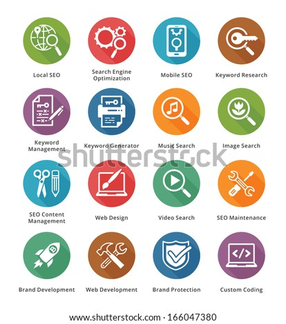 SEO & Internet Marketing Icons - Set 1 | Long Shadow Series - stock vector