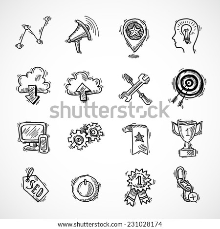 SEO internet marketing sketch icons set with choice optimisation social network cloud isolated vector illustration - stock vector