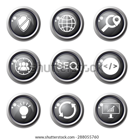 SEO Internet Sign Black Vector Button Icon Design Set 2