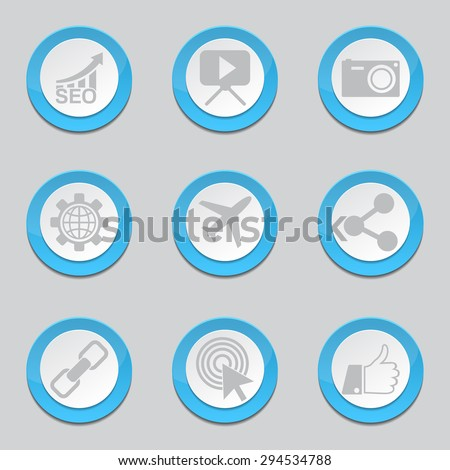 SEO Internet Sign Blue Vector Button Icon Design Set 1