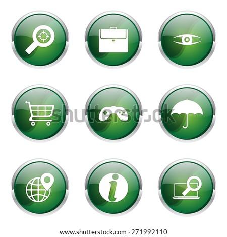 SEO Internet Sign Green Vector Button Icon Design Set 10 - stock vector