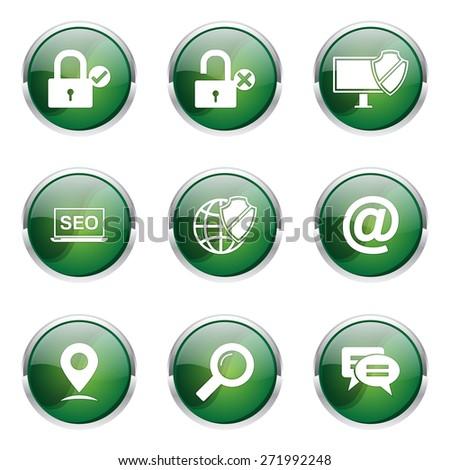 SEO Internet Sign Green Vector Button Icon Design Set 3 - stock vector