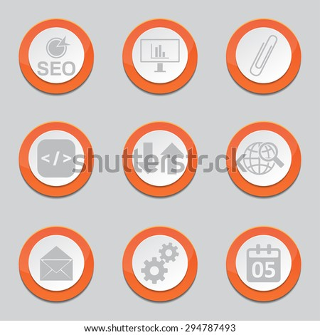 SEO Internet Sign Orange Vector Button Icon Design Set 6