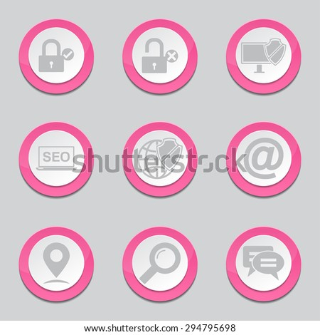 SEO Internet Sign Pink Vector Button Icon Design Set 3 - stock vector