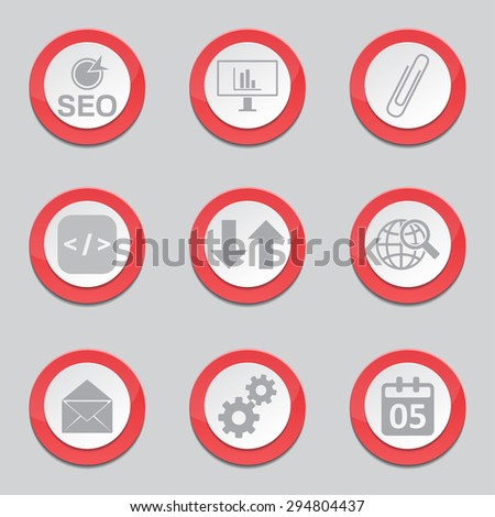 SEO Internet Sign Red Vector Button Icon Design Set 6
