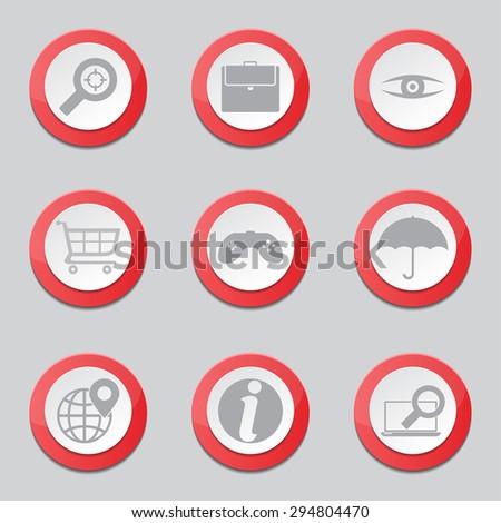SEO Internet Sign Red Vector Button Icon Design Set 10 - stock vector