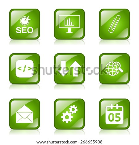 SEO Internet Sign Square Vector Green Icon Design Set 6