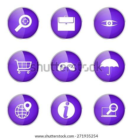 SEO Internet Sign Violet Vector Button Icon Design Set 10 - stock vector