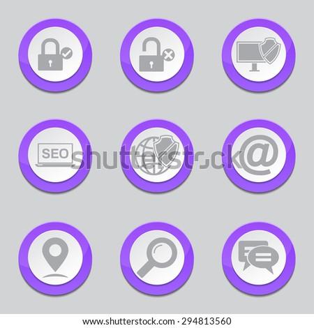 SEO Internet Sign Violet Vector Button Icon Design Set 3 - stock vector