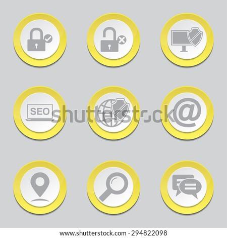 SEO Internet Sign Yellow Vector Button Icon Design Set 3 - stock vector
