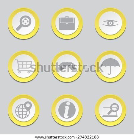SEO Internet Sign Yellow Vector Button Icon Design Set 10 - stock vector