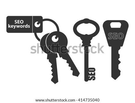 SEO keywords. Concept of keywords illustration for search engine optimization. Vector illustration. Keys with keychain and labeled key. Black symbol isolated on white. - stock vector