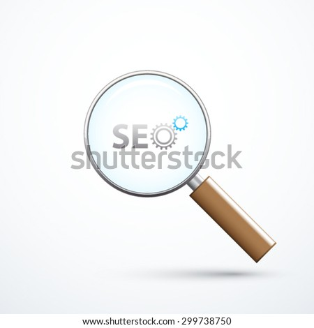 SEO logo and magnifying glass - stock vector