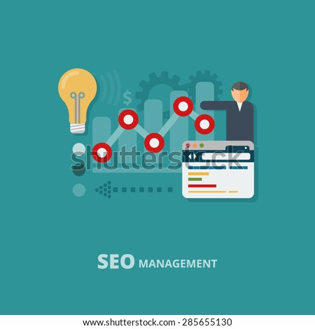 Seo management concept, website analytic, data analysis.  Flat design. Vector Illustration. - stock vector