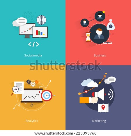 SEO marketing flat icons set with social media business analytics isolated vector illustration - stock vector
