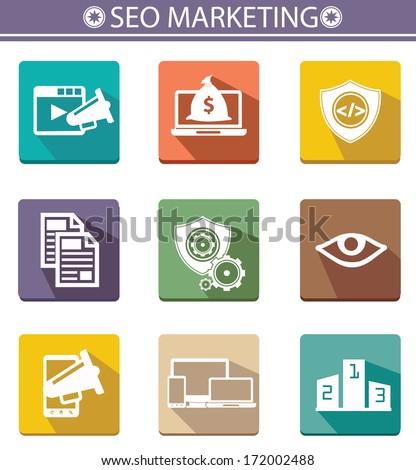 Seo marketing icons,vector - stock vector