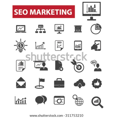 seo marketing, internet promotion black isolated concept icons, illustrations set. Flat design vector for web, infographics, apps, mobile phone servces - stock vector