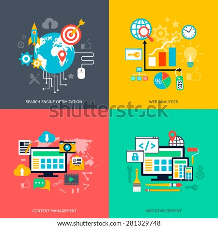 SEO optimization icons. Web development, internet marketing, web design, tags, target strategy, analysis - stock vector