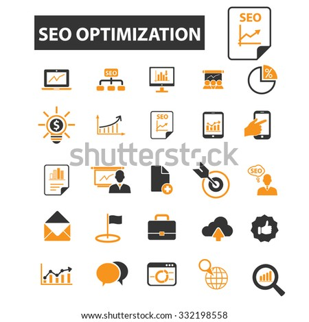 seo optimization, internet promotion icon & sign concept vector set for infographics, website - stock vector