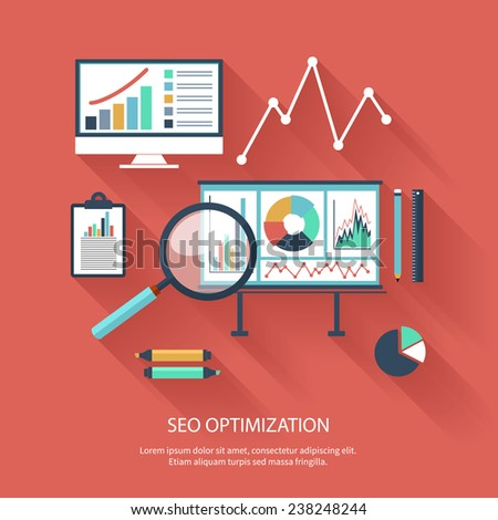 SEO optimization, programming process and web analytics elements in flat design - stock vector