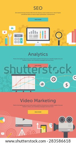 SEO optimization, programming process and web analytics elements in flat design. Video marketing. Approaches, methods and measures to promote products and services based on video - stock vector