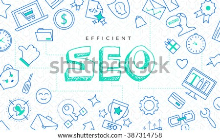 SEO original doodle creative background, idea concept vector illustration. Efficient search engine optimization, high tech pattern, flat thin line icons