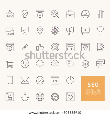 SEO Outline Icons for web and mobile apps - stock vector