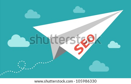 SEO paper plane flying up - getting results in search engine - stock vector