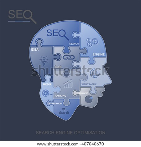 SEO puzzle head, vector - stock vector