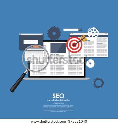 SEO Search Engine Optimazation Vector illustration. Flat computing background. EPS10 - stock vector