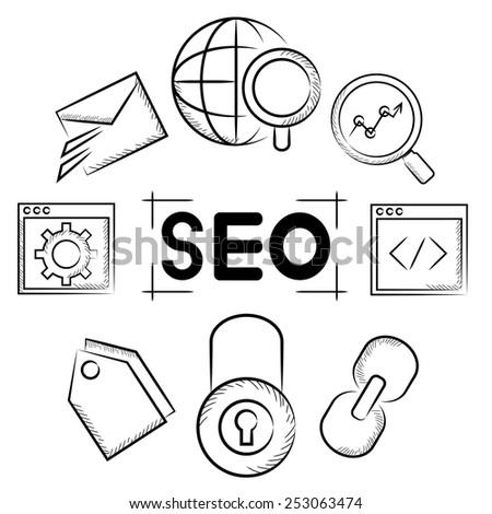 seo, search engine optimization - stock vector
