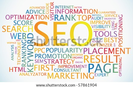 SEO - Search Engine Optimization colorful abstract poster - stock vector