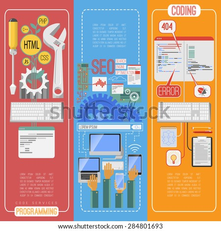 Seo search engine optimization flat vertical banners set with mobile webpage keywords editing abstract isolated vector illustration