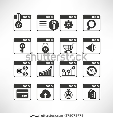seo, search engine optimization icons set - stock vector