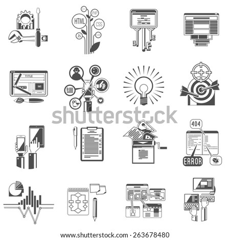 Seo search engine optimization service for increasing  page visibility index black icons collection abstract isolated vector illustration - stock vector