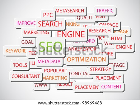 SEO - Search Engine Optimization vector background illustration - stock vector