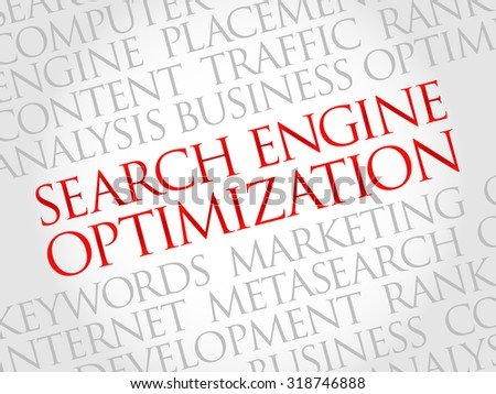 SEO - search engine optimization word cloud, business concept - stock vector