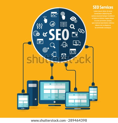 SEO services concept with 20 premium quality SEO icons set. - stock vector