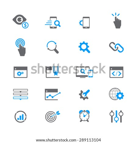 SEO Services Icons - Editable vector icons for video, mobile apps, Web sites and print projects. - stock vector