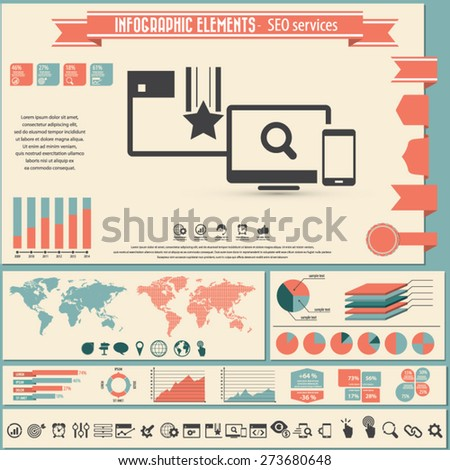 SEO Services - infographic elements and icons set. - stock vector