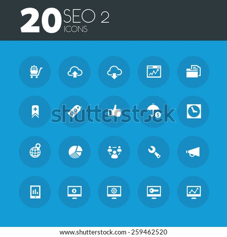SEO set 2 icons on round blue buttons - stock vector