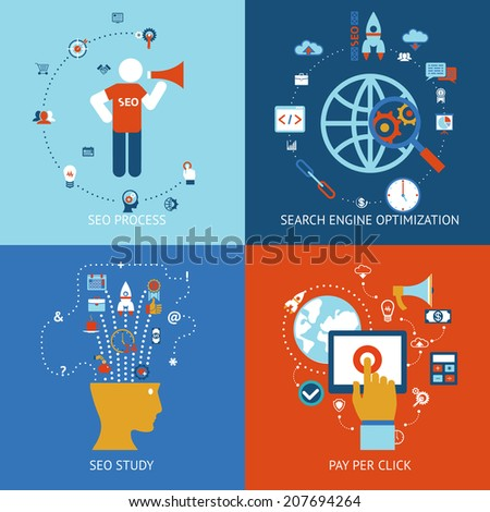 SEO. Set of banners for web, mobile and apps, pay per click and internet advertising - stock vector