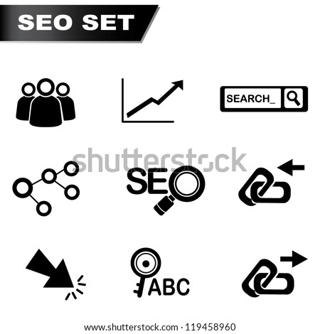 SEO Set, search engine optimization - stock vector