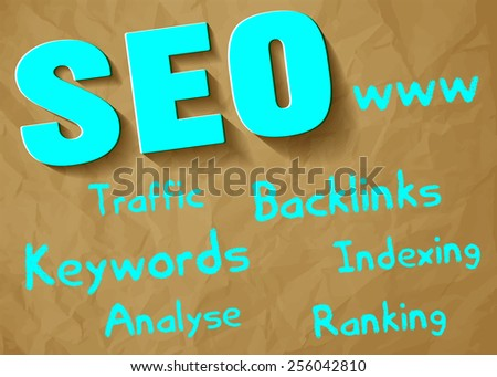 SEO symbol blue paper on crumpled paper brown background with keywords - stock vector