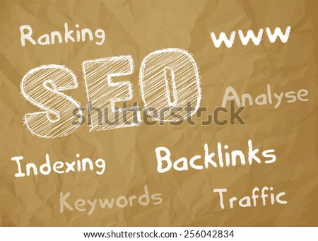 SEO symbol white scribble on crumpled paper brown background with keywords - stock vector