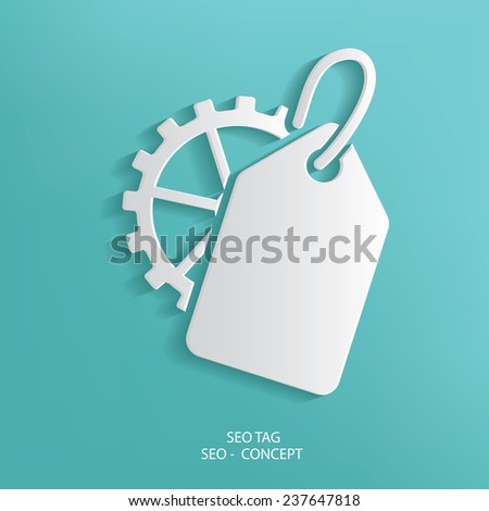 SEO Tag symbol on blue background,clean vector - stock vector