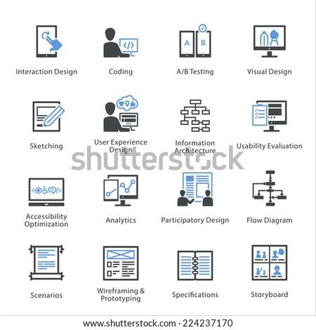 SEO & Usability Icons Set 2 - Bleu Series  - stock vector