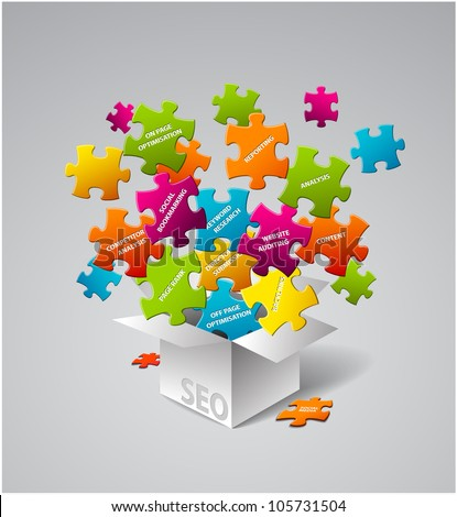 SEO Vector illustration - box full of search engine optimization elements - stock vector