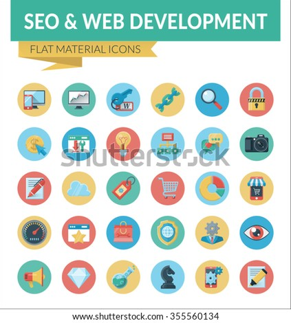 SEO & WEB DEVELOPMENT. Trendy Material Design Icons  pack for designers and developers. Icons for seo and web development, for websites and mobile websites and apps. - stock vector